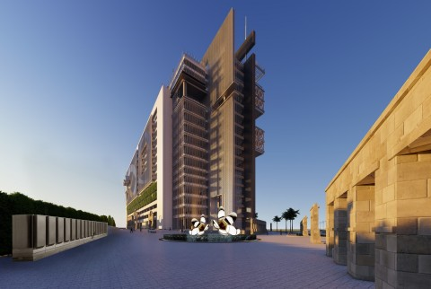 Rendering of Whitefield Tower business-hospitality development and Bloom Energy Server installation in Bengaluru, India (Photo: Business Wire)