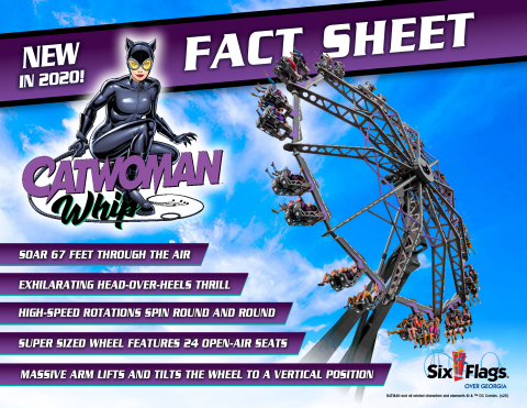 (Fact Sheet) Catwoman Whip flips riders head-over-heels in an exhilarating thrill ride. (Photo: Six Flags)