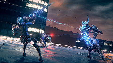 In ASTRAL CHAIN, control the protagonist and a special weapon called a Legion simultaneously to chain stylish combos. (Graphic: Business Wire)