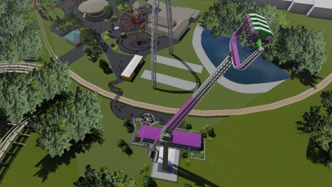 Catwoman Whip catapults into Six Flags St. Louis in 2020. The ride's giant arm will whip riders 'round and 'round, 164-ft in the air and up to 52 mph, while the open-air seats they are riding in flip upside down. (Photo: Business Wire)