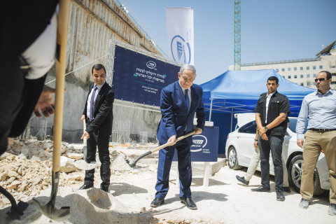 Intel Senior Vice President and Mobileye CEO Prof. Amnon Shashua (left) and Israeli Prime Minister Benjamin Netanyahu lay the cornerstone for Mobileye's new global development center in Jerusalem on Tuesday, Aug. 27, 2019. The eight-story center marks the largest investment in the history of Israel and is set to employ 2,700 people. (Credit: Victor Levi/Mobileye)