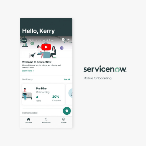 The New York release also features a new ServiceNow Mobile Onboarding app, which makes starting a new job a cinch by combining all of the multi-departmental tasks involved in getting up and running as a new employee into a single, intuitive mobile experience. (Photo: Business Wire)