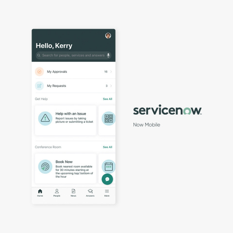 ServiceNow's new Now Mobile app makes diverse everyday work tasks simple and easy. (Photo: Business Wire)
