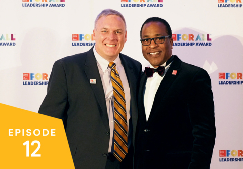 Greg Pryor, the People & Performance Evangelist at Workday, is honored by Great Place to Work CEO Michael C. Bush at the 2019 Great Place to Work For All Summit. (Photo: Business Wire)