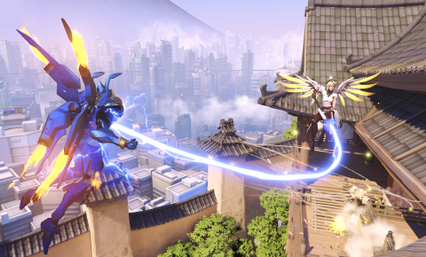 Overwatch heroes Pharah (left) and Mercy (right) team up and soar over Hanamura.  (Graphic: Business Wire)