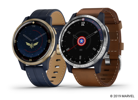 Garmin Legacy Hero Series, featuring Captain Marvel and First Avenger smartwatches (Photo: Business Wire)