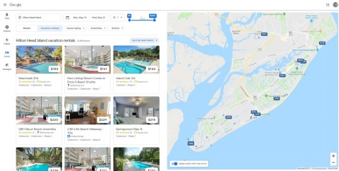 A Google search results page shows Vacasa vacation homes available on Hilton Head Island. (Photo: Business Wire)