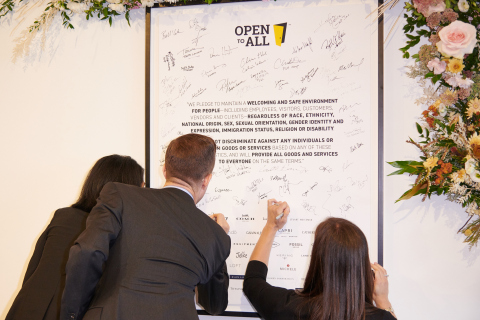#bettertogether over 50 fashion houses and brands came together to demonstrate inclusivity and collectively signed the Open to All pledge. (Photo: Loren Matthew/AP Images for Tapestry, Inc.)