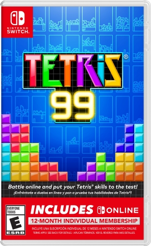 Starting today at select retailers, Nintendo Switch owners will be able to pick up a new bundle that includes the fast-paced Tetris® 99 game and a 12-month membership to Nintendo Switch Online at a suggested retail price of only $29.99. (Graphic: Business Wire)
