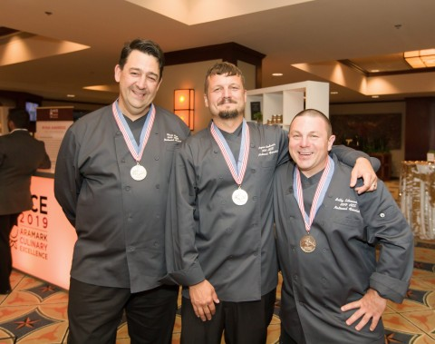 Aramark chefs (l-r) Christopher Bee, Ryan Andress, and William Edmondson will represent the Education division at the National Finals of Aramark's Culinary Excellence Competition in Philadelphia, PA in November 2019. (Photo: Business Wire)