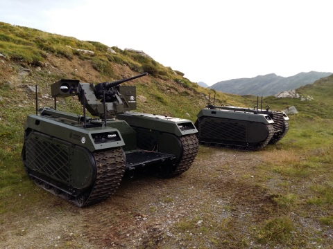 Two THeMIS UGVs delivered to the Royal Netherlands Army were used in a live firing exercise in Austria recently. One was equipped with the deFNder RWS from FN Herstal and the other was used as a transportation platform (Photo: Business Wire)