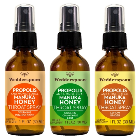 Wedderspoon Propolis and Monofloral Manuka Honey Throat Spray: Warming Orange Spice, Cooling Chamomile Mint, and Lemon Ginger (Photo: Business Wire)