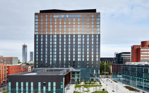 """Exterior of """"The Lume,"""" future home to Hyatt Regency Manchester Oxford Road and Hyatt House Manchester/Oxford Road.  (Photo: Business Wire)"""