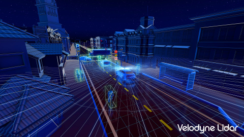 The Velodyne Alpha Puck™ can simultaneously locate the position of people and objects around a vehicle and assess the speed and route at which they are moving. (Photo: Velodyne Lidar)