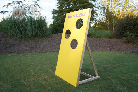 The football toss is constructed of plywood, 2x4s and mesh netting. (Photo: Exmark)