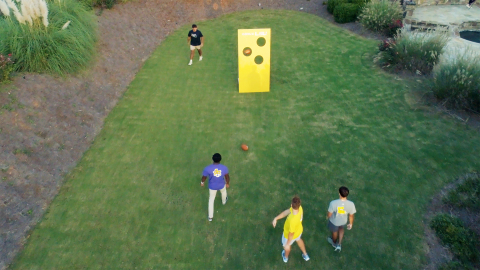 The football toss is easy to build and will be a hit with guests. (Photo: Exmark)