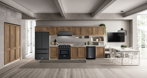 THOR Kitchen introduces a black stainless steel option for select appliances, including gas ranges, ventilation hoods, dishwashers and its new Recessed Handle Refrigerator. Shown featuring the 48-inch range and vent hood. (Photo: Business Wire)