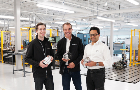 Christian Steinmann (center) with ClearMotion co-founders Zackary Anderson (left) and Shakeel Avadhany (right) pictured in testing lab located at ClearMotion headquarters in the Greater Boston Area. (Photo: Business Wire)