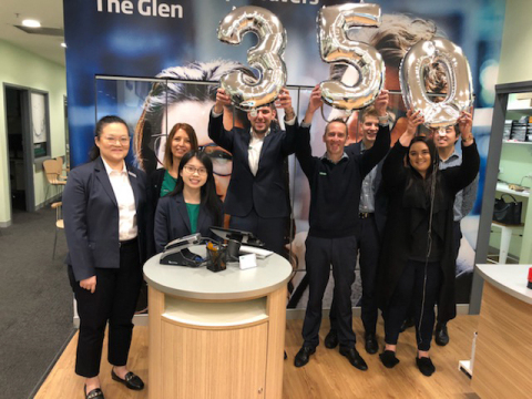 The staff of Specsavers Australia celebrates the installation of the 350th Maestro OCT. (Photo: Business Wire)