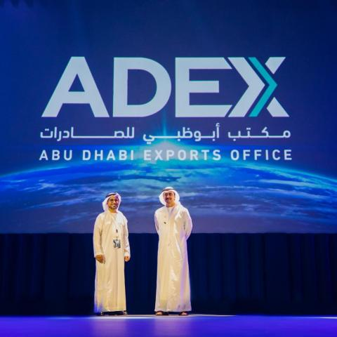 From right to left: HH Sheikh Abdullah bin Zayed Al Nahyan, Minister of Foreign Affairs and International Cooperation and Deputy Chairman of the Board of Directors at Abu Dhabi Fund for Development (ADFD) and His Excellency Mohammed Saif Al Suwaidi, Director General of ADFD, during the official ADEX launch in Abu Dhabi (Photo: AETOSWire)