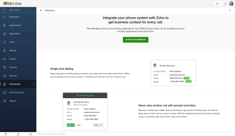 This is a screenshot of the application Zoho Telephony. (Graphic: Business Wire)