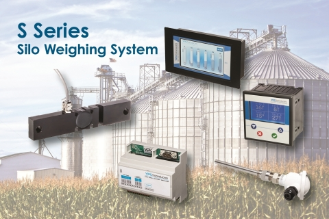 The VPG Transducers S Series Silo Weighing System: Display controllers for panel mounting (ST1 and ST3) and remote monitoring (S-Box); Model 178 load cell for weight measurement; PT100 sensor for temperature measurement. (Graphic: Business Wire)