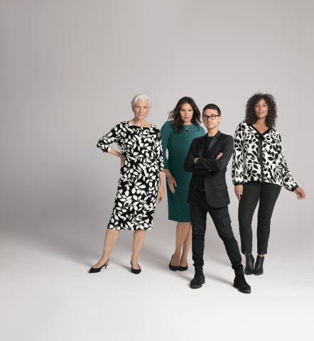 Christian Siriano with Candice Huffine, Maye Musk and Marquita Pring wearing the first Christian Siriano for J.Jill Collection. (Photo: Business Wire)