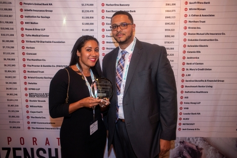 Tracy Miranda Teixeira and Alex Teixeira accept the Boston Business Journal award naming Granite as the No. 1 most charitable contributor in Massachusetts at the Corporate Citizenship Awards ceremony. Initial publication date: September 6, 2019. ©Boston Business Journal 2019 (Photo: Business Wire)