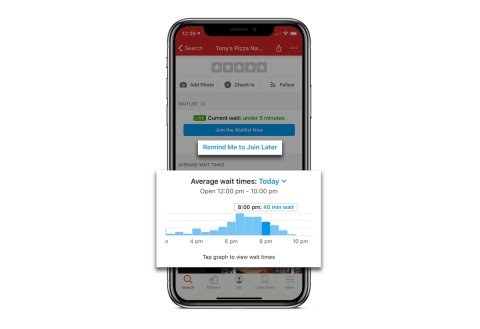 New Yelp Waitlist features, Predictive Wait Time and Notify Me, help people plan life better. (Graphic: Business Wire)