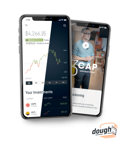Get invested. dough's commission-free investing app available in both Apple App Store and Google Play Store. (Photo: Business Wire)