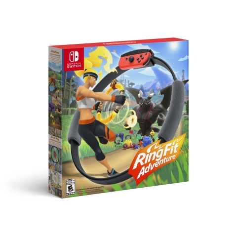 Ring Fit Adventure, which includes the game and Ring-Con and Leg Strap accessories, will launch for Nintendo Switch on Oct. 18 at a suggested retail price of $79.99. A Nintendo Switch system and a pair of Joy-Con controllers are required to play Ring Fit Adventure; sold separately. (Graphic: Business Wire)
