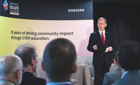 David Steel, Executive Vice President of Corporate Affairs for Samsung Electronics America, speaks on the impact the Samsung Solve for Tomorrow Contest has made on local communities the past nine years at the 10th anniversary launch event on September 12, 2019 in Washington, D.C. (Photo: Business Wire)