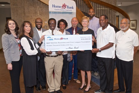 Home Bank and FHLB Dallas awarded $16K in partnership funds to help promote entrepreneurship and civic involvement in Natchez, Mississippi. (Photo: Business Wire)