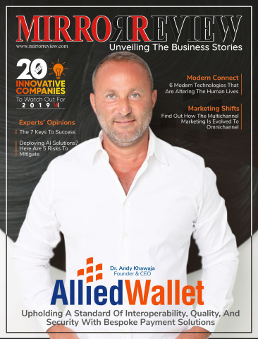 Allied Wallet CEO Andy Khawaja on the cover of Mirror Review magazine. (Graphic: Business Wire)