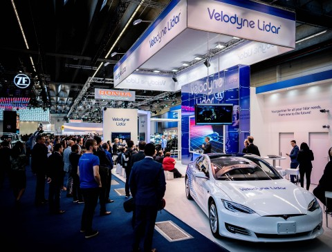 Can you see the lidar? The Velarray is embedded in a sleek electric car at IAA 2019 (Hall 8.0, Booth A13). (Photo: Velodyne Lidar)