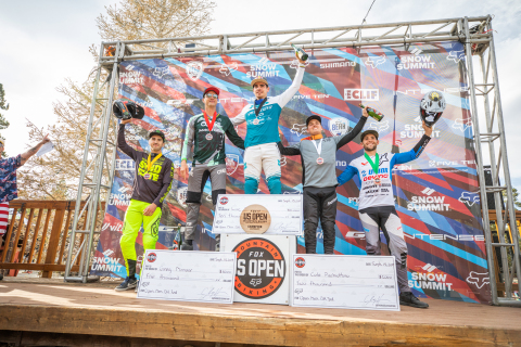 Left to Right: Luca Shaw, Greg Minnaar, Loic Bruni, Cole Picchiottino and Dakotah Norton. Local rider Cole Picchiottino epitomized the spirit of the US Open as he stood alongside A-list World Cup Riders from around the globe. (Photo: Business Wire)