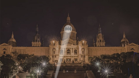 Rendering of what the Bat-Signal will look like on Barcelona's Museu Nacional d'Art de Catalunya on September 21 at 8pm local time. (Photo: Business Wire)