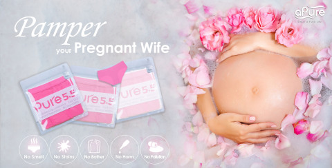 """How to Pamper Your Pregnant Wife? Try aPure Pure5.5 pH Balancing Underwear that protects pregnant women 24/7 and afford them some relief with """"5 Big NO's"""" motto: No Smell, No Stains, No Bother, No Harm, and No Pollution. (Photo: Business Wire)"""
