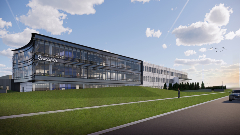 The view from the Northeast corner of Cochran and Solon Roads of the exterior of the new Swagelok global headquarters. (Graphic: Business Wire)