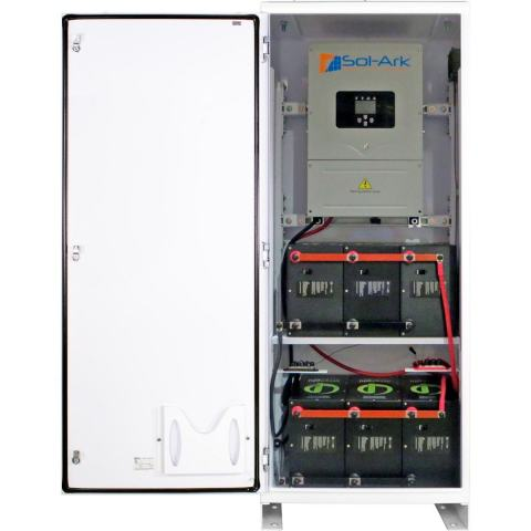 The SimpliPhi AccESS Energy Storage System combines cobalt-free, non-toxic LFP PHI batteries with the DC transformerless Sol-Ark hybrid inverter and built-in dual integrated charge controllers in a NEMA-3R indoor/outdoor-rated cabinet. (Photo: Business Wire)