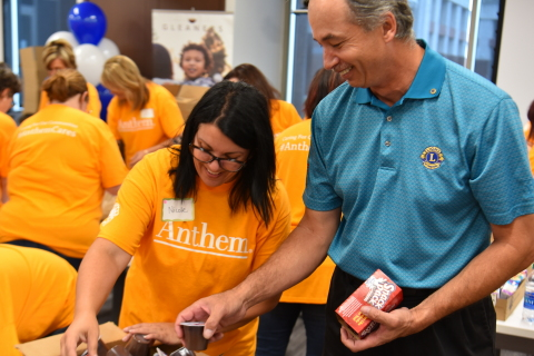 Anthem and the Anthem Foundation partnered with the Lion's Club International to kick off their annual Anthem Volunteer Days in Indianapolis. This year's volunteer efforts will focus on combating hunger in communities across the country.(Photo: Business Wire)
