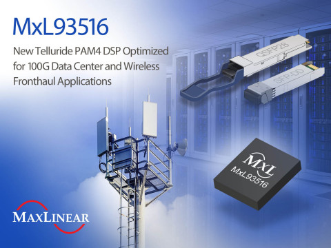MxL93516 PAM4 DSP Optimized for 100G Applications (Graphic: Business Wire)