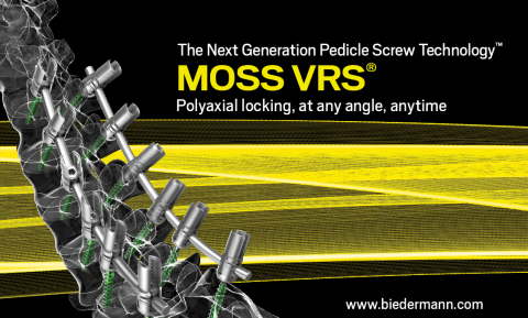 Biedermann Motech to introduce MOSS VRS® - The Next Generation Pedicle Screw Technology™ to the US market at NASS 2019 in Chicago. Please join us at booth #2230 to learn more about the MOSS VRS System which allows the surgeon to lock the polyaxial angle of the pedicle screw at any angle, at any time during surgery, providing unmatched intraoperative options using a single, highly functional implant. (Photo: Business Wire)