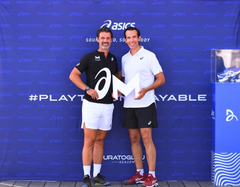 ASICS has today announced it will become the official tennis footwear and apparel partner of the prestigious Mouratoglou Academy. Pictured (L-R): Patrick Mouratoglou, Founder and President, Mouratoglou Academy; Gary Raucher, Vice President Product and Marketing, ASICS (Photo: Business Wire)