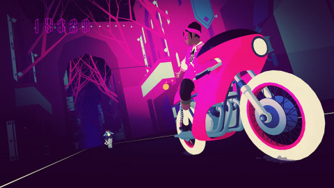 Sayonara Wild Hearts is a dreamy arcade game about riding motorcycles, skateboarding, dance battling, shooting lasers, wielding swords and breaking hearts at 200 mph. (Photo: Business Wire)