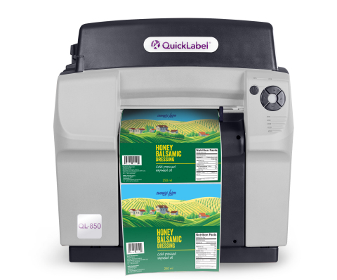 The QuickLabel QL-850 is a durable, wide-format tabletop color label printer that features moisture-resistant, dye-based Natura™ inks. A patented gear design and advanced smooth tracking system result in exacting registration and superior 1600 dpi print resolution on a wide range of media types. (Photo: Business Wire)