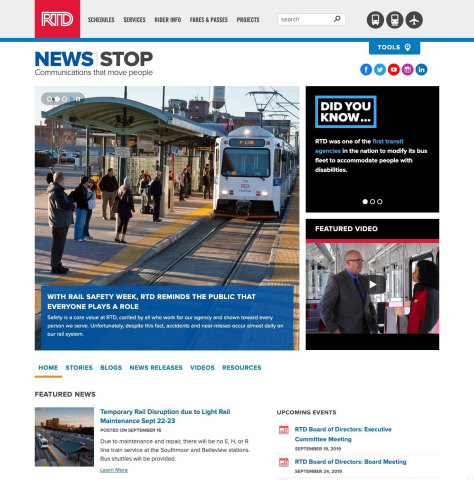 Denver RTD Launches Newsroom for Public and News Media (Photo: Business Wire)
