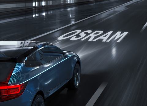 Visualization of information with the help of headlights in HD quality - the 25,600 pixels of the second generation of Eviyos will make this possible in the future. Picture: Osram