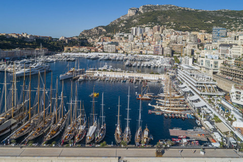 The classic boats moored at the Yacht Club de Monaco. (Photo: Carlo Borlenghi)