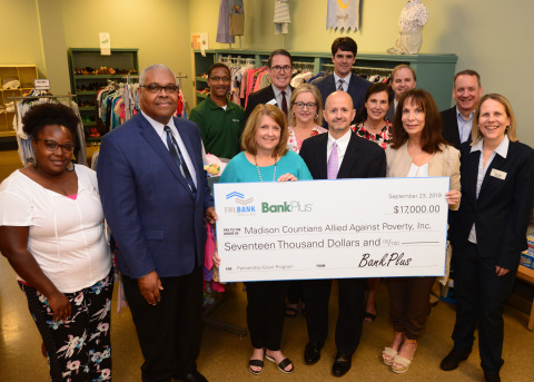 Representatives from BankPlus and FHLB Dallas today awarded $17K in partnership funds to Madison Countians Allied Against Poverty in Canton, Mississippi. (Photo: Business Wire)
